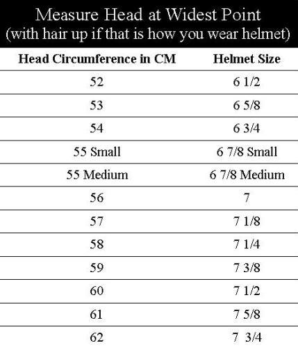 Samshield Helmet Size Chart