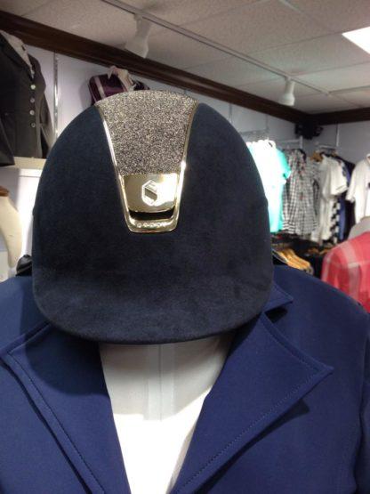 Custom Samshield Helmet - Navy Alcantara Crystal Fabric Gold Trim