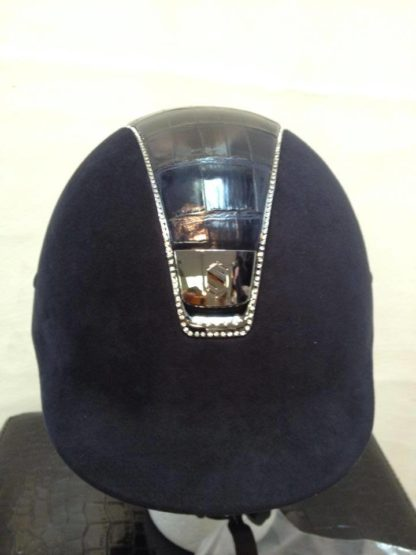 Custom Samshield Helmet - Navy Alcantara | Gold Trim | Top Crocodile