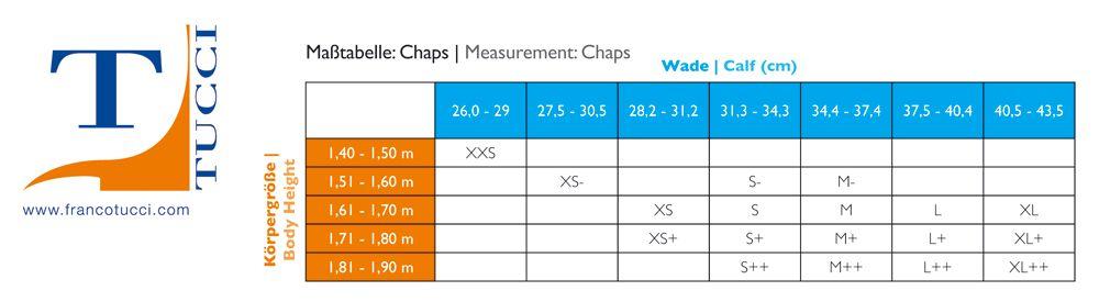 Tucci Half Chaps (mini chaps) sizing Chart