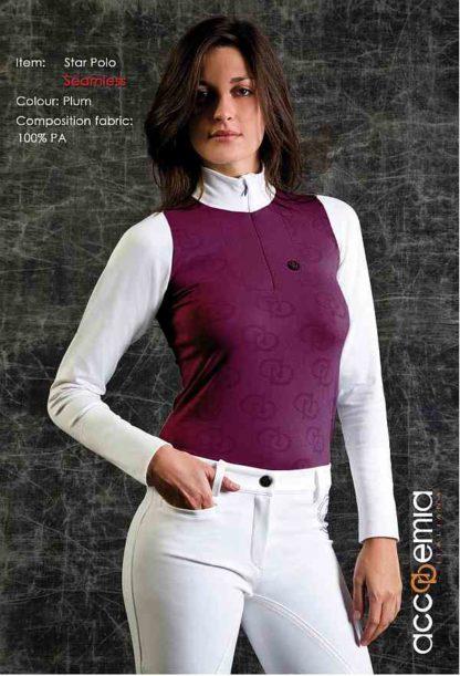 Accademia Italiana Ladies Long Sleeve Polo Shirt in Plum