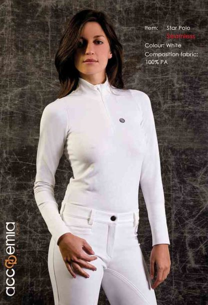 Accademia Italiana Ladies Long Sleeve Polo Shirt in White