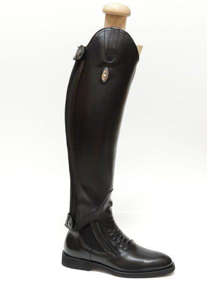 Secchiari Paddock Short Boots Grand Prix Elastic shown with matching Chaps - Black
