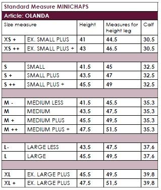 Secchiari Mini Chaps - Size Chart