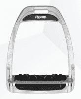 Flex On Aluminium Shock Absorbing Hunter Stirrups - Silver Frame, Black Elastomers with Inclined Ultra Grip