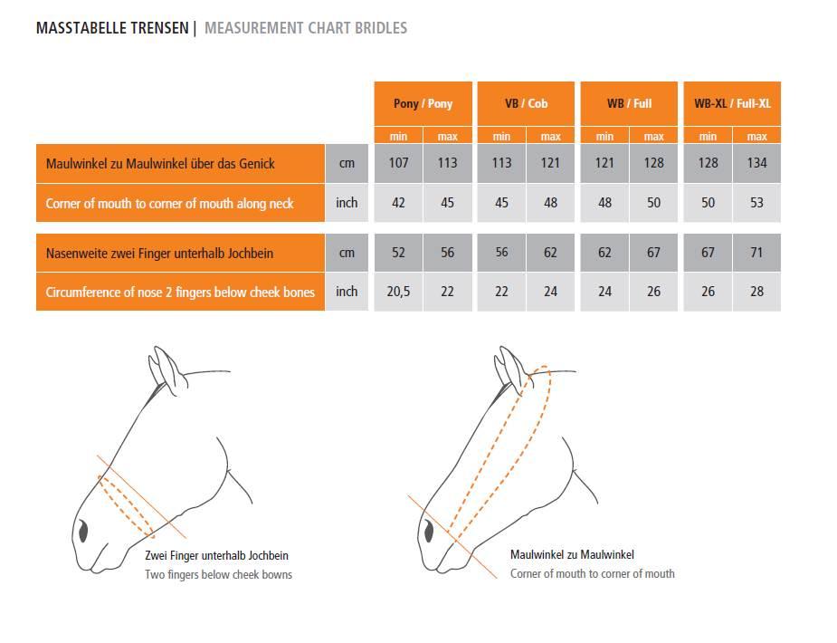Schockemoehle Sports Bridles Size Chart