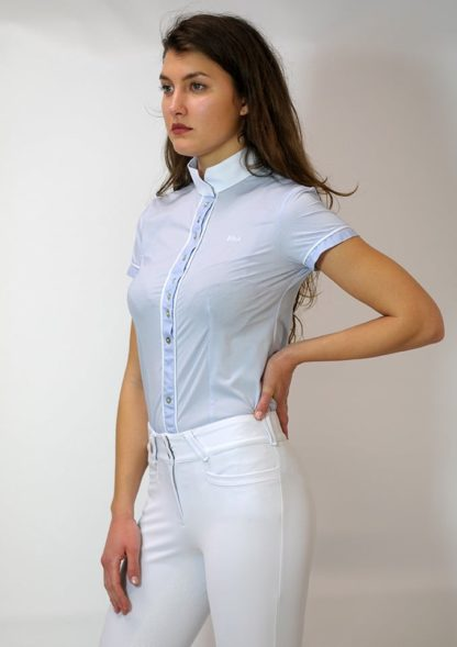 "Ladies Full Buttoned Technical Show Shirt ""Alzira"" - Light Blue Pois"