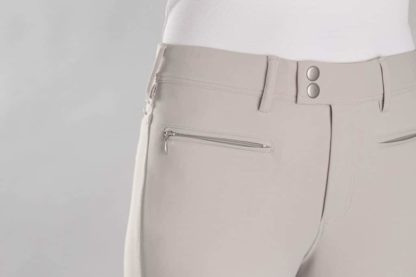Samshield Ladies Knee Patch Beige Breeches - Clotilde - Front Detail