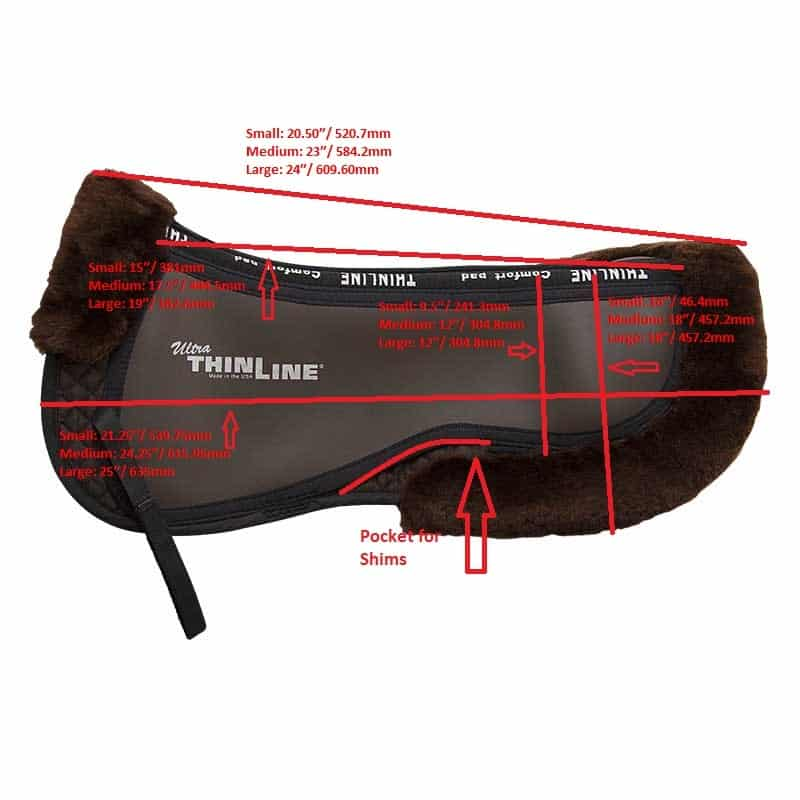 Ultra ThinLine Trifecta Half Pad with Sheepskin Rolls - Measurements