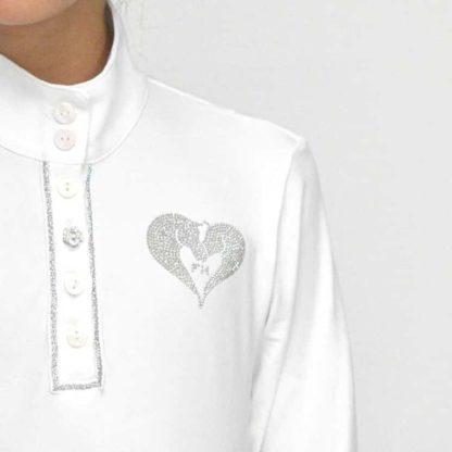 "For Horses Girls Lightweight Long Sleeve Technical Show Shirt ""Molly LS"" - White"