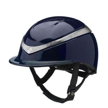 Charles Owen Halo MIPS Helmet with Regular Brim - Navy Glossy with Platinum